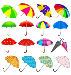 set of umbrellas from the rain vector image