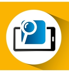 Mobile phone icon searching social media vector