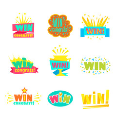 Win congratulations stickers collection of comic vector