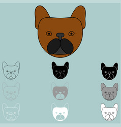 Dog face brown black grey white icon vector