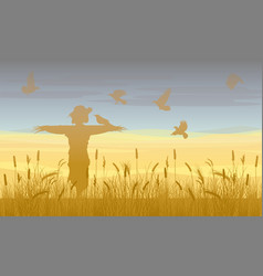 Agricultural wheat field landscape template vector
