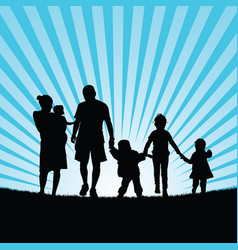 Family large with children walking in beauty vector