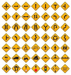 Warning traffic signs set vector