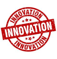 Innovation round red grunge stamp vector