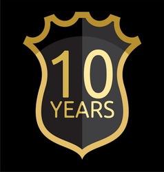Golden shield years vector image