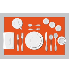 Serving dishes and cutlery vector