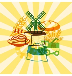 Background with agricultural objects vector