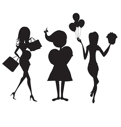 Set of three girls silhouettes at birthday party vector