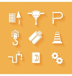 Trendy flat working tools icons white silhouettes vector