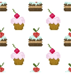 Seamless pattern pixel cakes with fruits vector