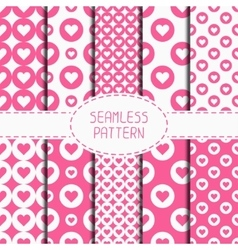 Set of pink romantic geometric seamless pattern vector
