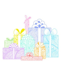 Composition of bright gift boxes on white backgrou vector