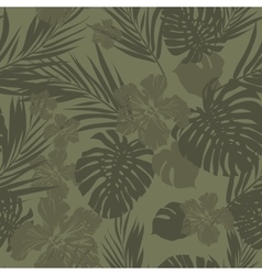 Tropical seamless monochrome khaki camouflage vector
