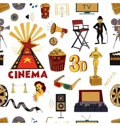 Colored hand drawn cinema pattern vector