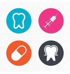 Tooth enamel icons medical syringe and pill vector