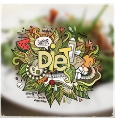 Diet hand lettering and doodles elements emblem vector