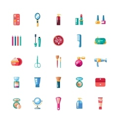 Set of flat design cosmetics make up icons and vector image