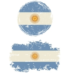 Argentinean round and square grunge flags vector