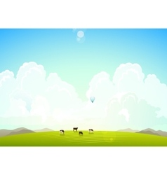 Landscape with mountains hills vector