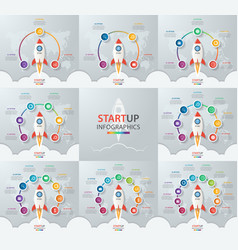 Startup circle infographic set vector