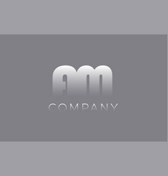 Am a m pastel blue letter combination logo icon vector