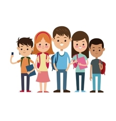 Back to school group students ready study vector