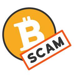 Bitcoin scam flat icon vector
