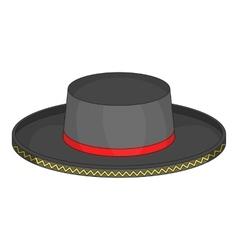 Black man fedora hat icon cartoon style vector