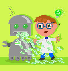 Cartoon inventor with dollar robot vector