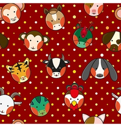 Chinese zodiac red polka dot background vector