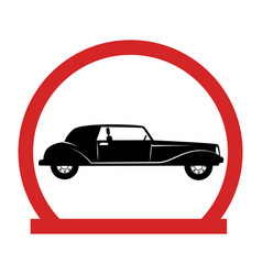 circular emblem with classic car vector image