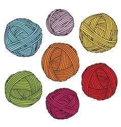 Colorful yarn balls wool skeins vector