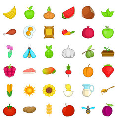 Comestible icons set cartoon style vector