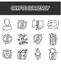 Cryptocurrency flat icons set vector