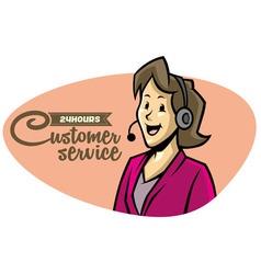 Customer sevice girl on phone vector image