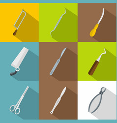 doctor tools icons set flat style vector image vector image