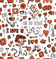 Doodles Valentines day pattern vector image