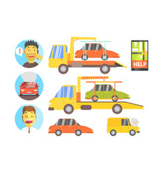 Evacuation of the car after the crush infographic vector