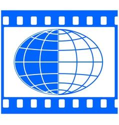 Globe in film frame vector image