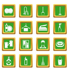 House cleaning icons set green vector
