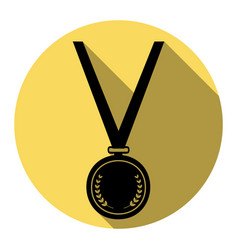 Medal simple sign flat black icon with vector