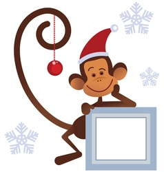 Merry Christmas monkey vector image vector image