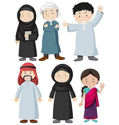 Muslim man and woman with happy face vector