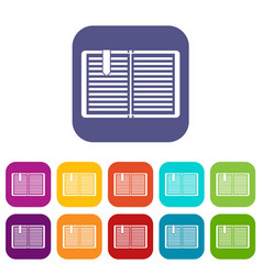 Open book with a bookmark icons set vector