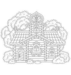 Ornate log cabin vector