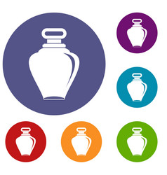 Parfume bottle icons set vector