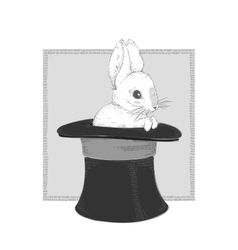 Rabbit in the hat hand drawing vector