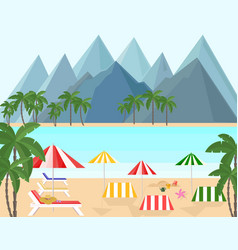 seaside with mountains background vector image vector image