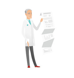 Senior doctor in medical gown giving presentation vector
