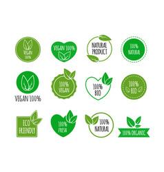 set of bio healthy food badges vegan organic vector image